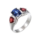 untreated sapphire and spinel in 18k white gold handmade ring
