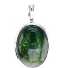 iridescence chrome tourmaline natural in platinum pendant