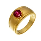 african ruby set on bezel hammered 18k gold
