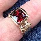 no heat natural volcano red spinel set in 18k yellow gold ring