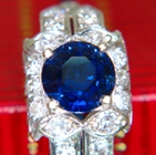 blue sapphire and diamonds in gold ring
