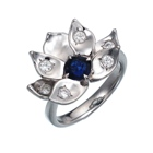 natural hunted Kashmir-blue Burma sapphire with diamonds in Jyotish platinum ring setting