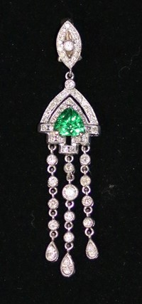 Honest Top Class Green Kashmiri Emerald Pear Gemstone Silver Plated Necklace Set 100% Guarantee Engagement & Wedding
