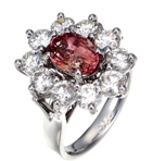 natural padparadscha and diamonds in elegant platinum ring