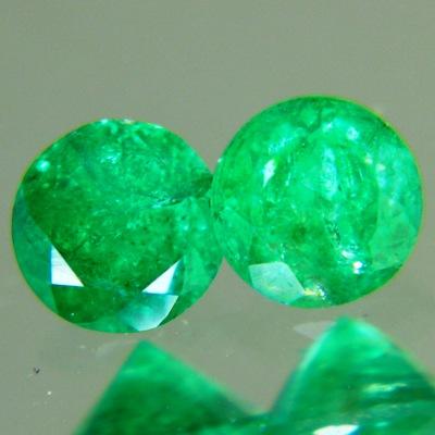 pair round zimbabwe emeralds brilliant cut