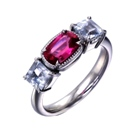 natural asian ruby and white sapphires in platinum ring