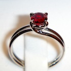 natural red ruby set in wonderful platinum engagement ring