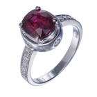 natural unheated red ruby set in white gold and diamonds ring