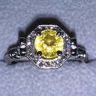 yellow natural unheated sapphire set on white gold ring