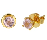top of the art handmade 18k yellow gold earrings with two natural spinel set on it