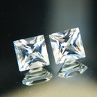 untreated white topaz princess cut pair