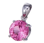 natural pink spinel set in white gold pendant