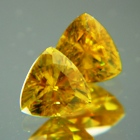 yellow natural sphenes in gold studs