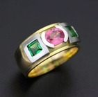 tsavorite, padparadscha and ruby in gold ring
