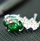 untreated tsavorite and diamonds in gold earrings
