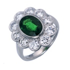 natural non heated tsavorite and diamonds set in platinum ring