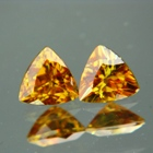 pair of natural non heat yellow triangular shape titanites
