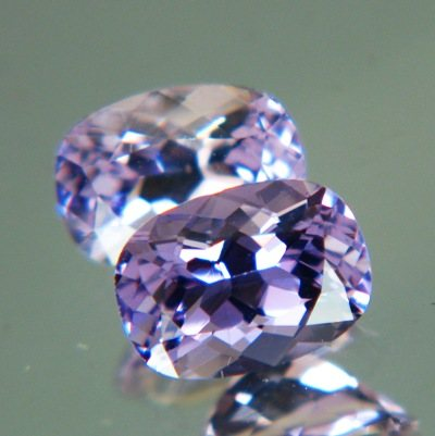 Lively violet pair of Ceylon scapolite