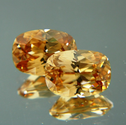 Golden yellow pair of Ceylon zircon