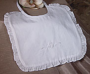 Hand Embroidered Christening Bib W/Tiny Beads