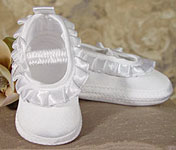 Girls Satin Christening  Shoe W/Pleated Ribbon