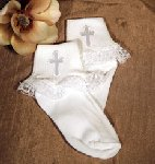 Lace Trimmed Anklet Cock W/Embroidered Cross Applique