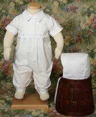Polycotton One Piece Christening Coverall W/Pintucking