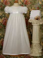 "24"" Polycotton Christening Gown W/Lace Trim"