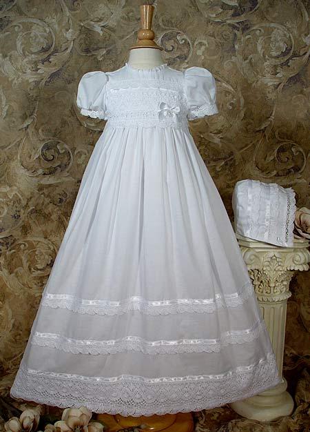 Girls Cotton Batiste Christening Gown