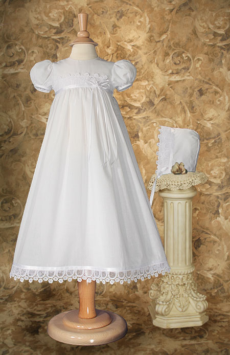 Cotton Christening Gown With Italian Lace