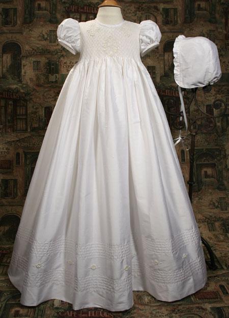 Silk Dupioni Gown W/Smocked Bodice