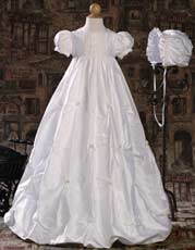 Silk dupioni heirloom Christening gown with bubble hem