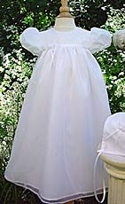 Sheer Taffeta Lined Christening Gown W/Embroidered Bodice