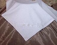 Cotton Knit Blanket W/Windowpane & Button Trim