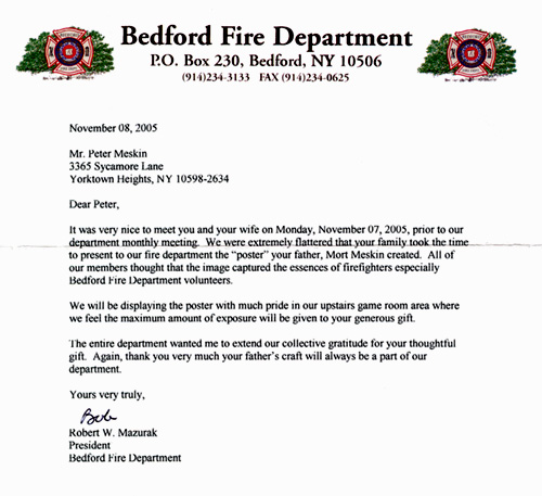 Bedford Fire Department Letter