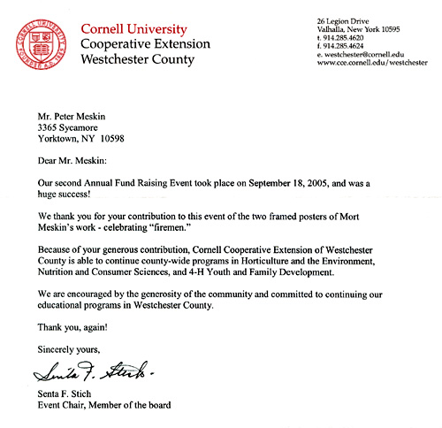 Cornell University Letter
