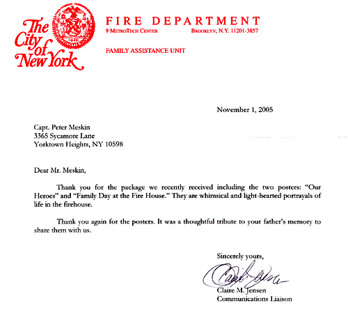 NYC Fire Department Letter