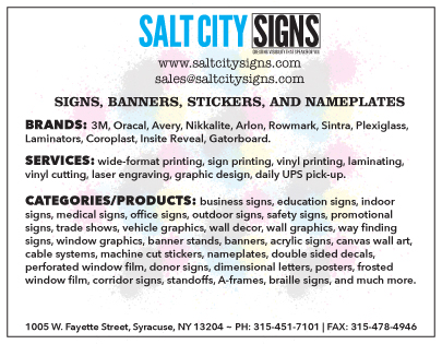 Salt City Signs Products and Services Card