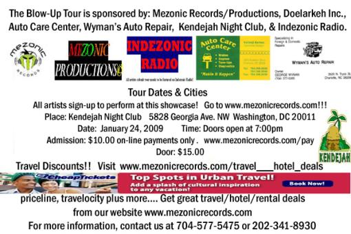 Artists sign-up to perform at the showcase in Washington, DC   January 24, 2009!!!