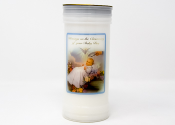 Christening Pillar Candle for a Boy.