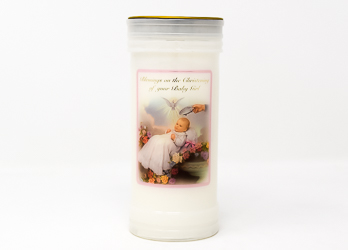 Christening Pillar Candle for a Girl.