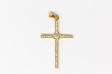 Gold Cross with Cubic Zirconium Stones.