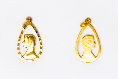 Our Lady of Lourdes Gold Pendant.