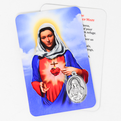 Immaculate Heart of Mary Prayer Card & Medal.