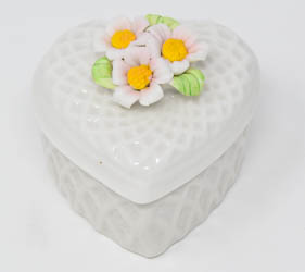 White Porcelain Heart Rosary Box.