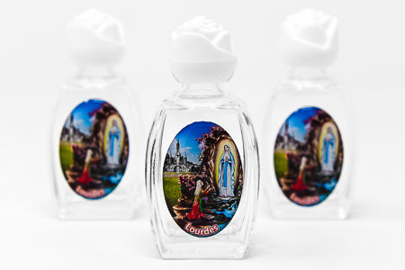 3 Color Glass Oval Holy Water Bottles with Lourdes Water