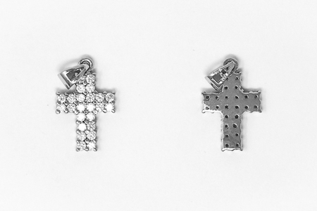 Silver Cross with Cubic Zirconium Stones.