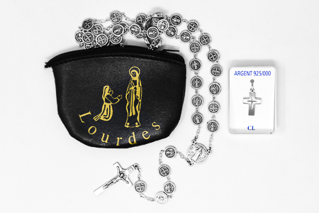 Mens Cross & St Benedict Rosary Catholic Gift Set.