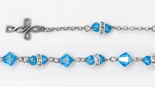 Blue Swarovski Crystal 925 Silver Rosary Bracelet