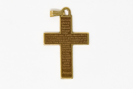 Cross Pendant with the the Lord's Prayer.